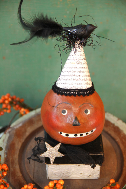Paper clay pumpkin heads-5