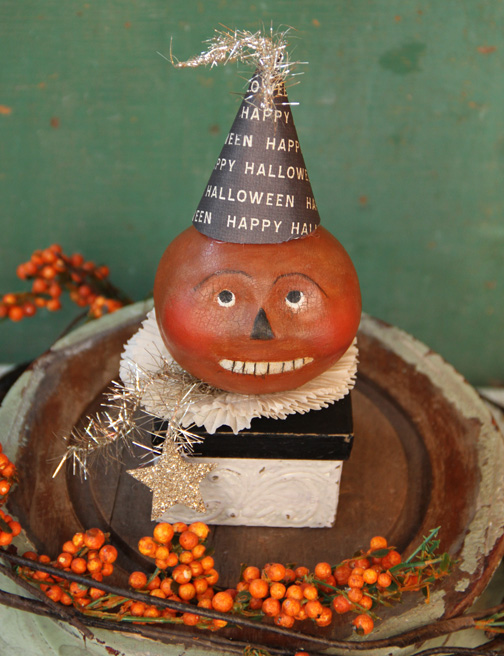 Paper clay pumpkin heads-3