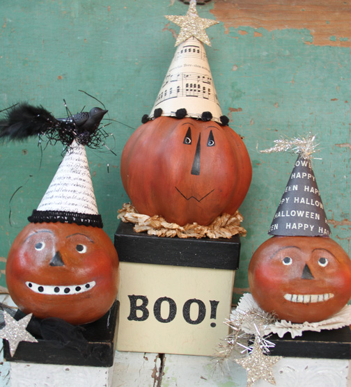 Paper clay pumpkin heads-1