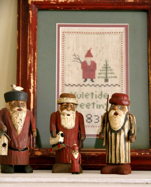 Stitched sampler, carved santa's